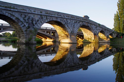 bridge light sunset reflections river colours shropshire severn atcham