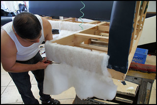 Cutting Foam on booth. Step by step to make the new booth. | by Upholstery Los Angeles