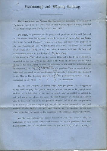 Scarborough and Whitby Railway Notice to Treat 1871 | by ian.dinmore