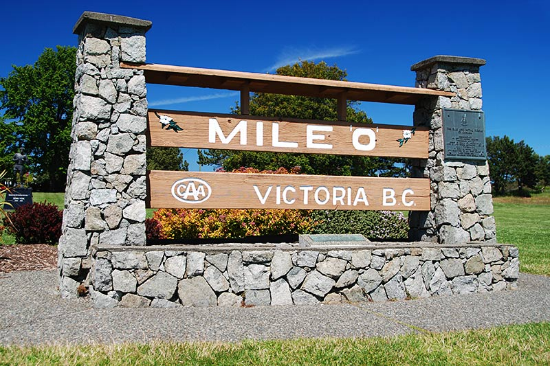 Mile Zero of the Trans-Canada Highway 1 in Beacon Hill Park, Victoria, Vancouver Island, British Columbia, Canada