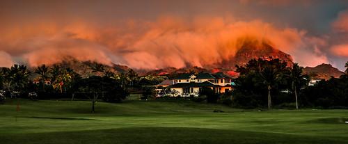 lighting sunset sky mountains green beauty clouds golf hawaii surreal samsung sunsets eerie pastels kauai poipu drama golfcourses nx300 imagelogger ditchthedslr kukui'ula