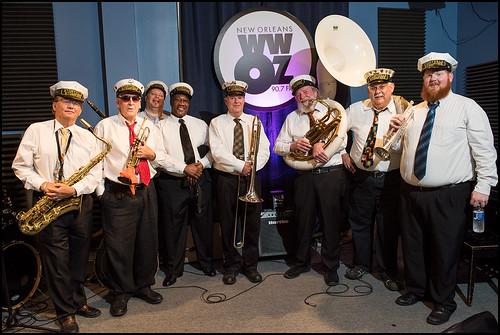 Storyville Stompers: Steve Burke (sax), Larry Tallarico (trumpet), Bruce Brackmann (clarinet), Anthony Bennet (bass drum), Jerry Dallman (trombone), Woody Penouilh (sousa),