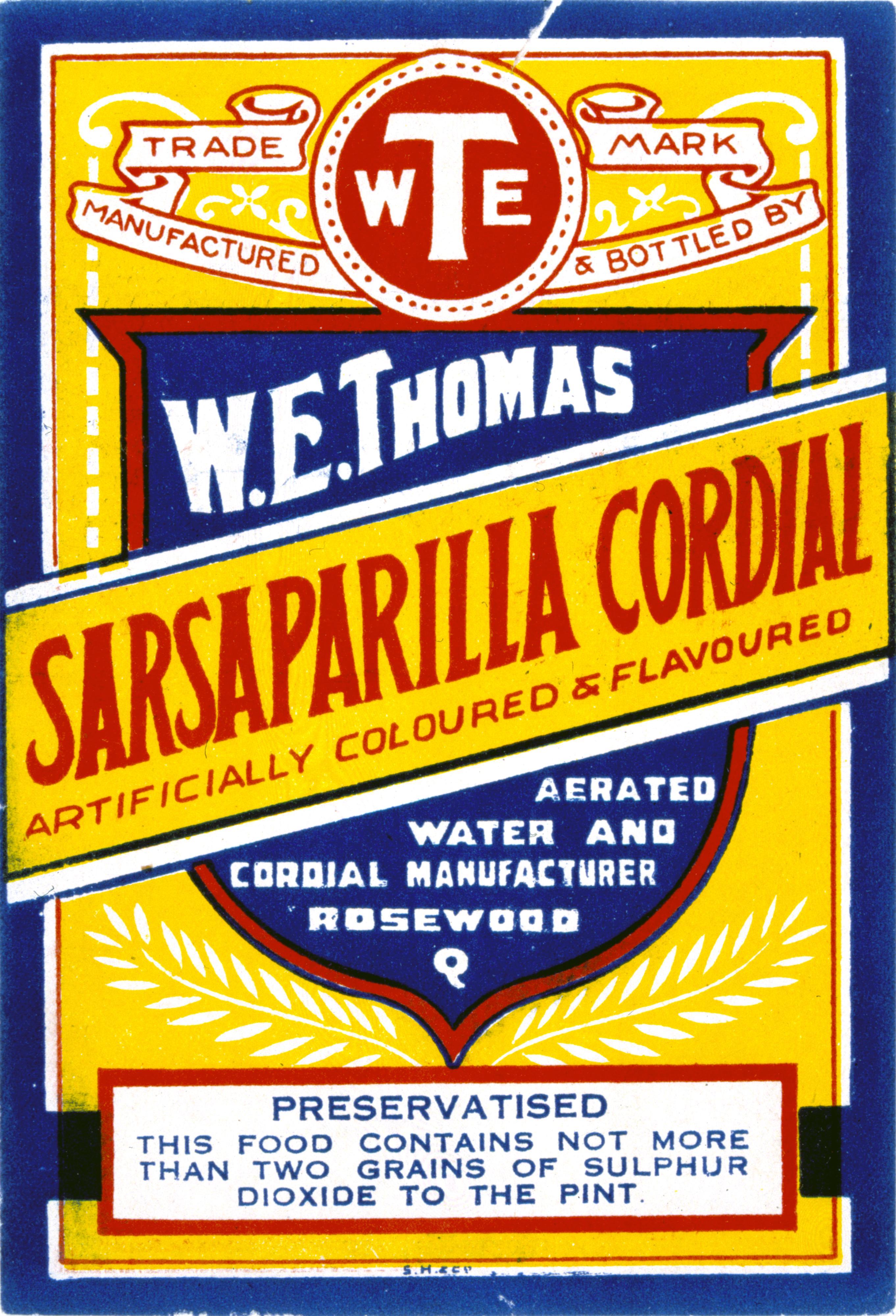 W. E. Thomas Sarsaparilla Cordial label