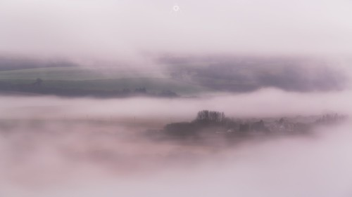 canon cloudinversion clouds countryside fog houses landscape leefilters longexposure nature perthshire scotland sunset trees winter