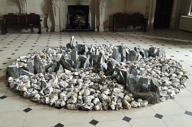 Richard Long's sculpture in the Stone Hall at Houghton Hall's EARTH SKY exhibition