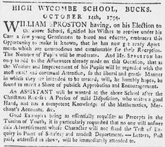 RGS High Wycombe: Advert for assistant master posted in the Oxford Journal, 18 October 1794