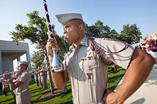 Aggie Band Major during March-In