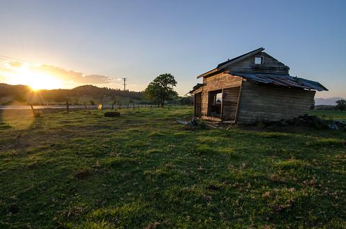 sunset house landscape shed australia nsw bellingen