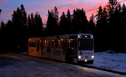 norway sunrise vinter gb trondheim lian trikk gråkallbanen gb94