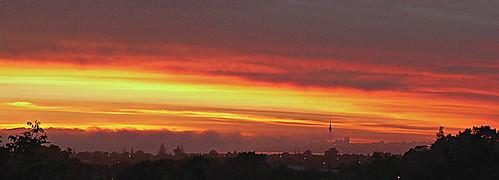scavenger4 wonderful sunrise red auckland city brilliant sky fog morning newzealand