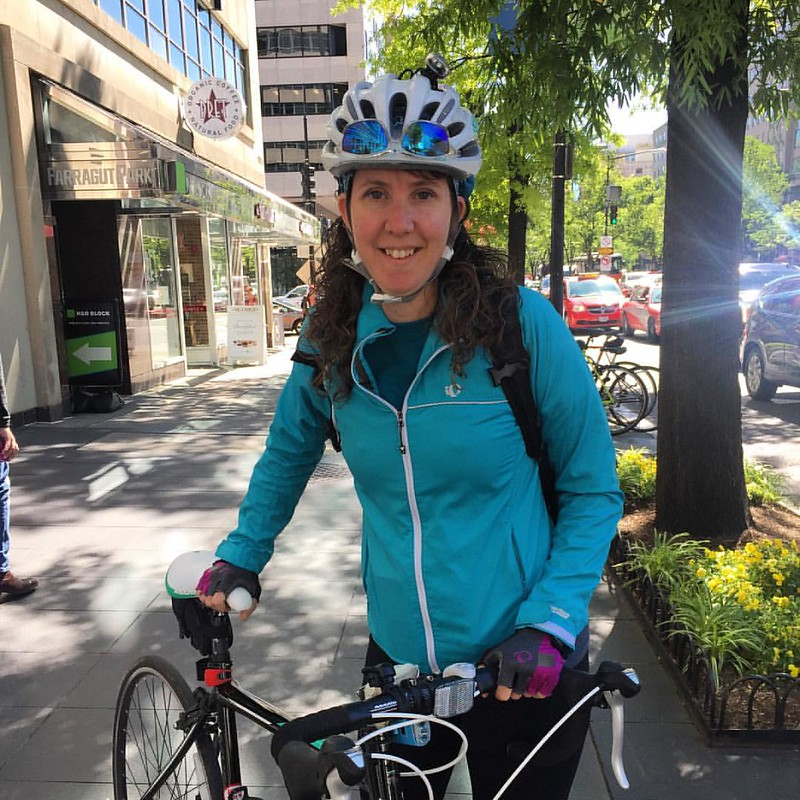 Rachel is behind the handlebars and ready to roll, off to do battle with bureaucracies and bad drivers #bikedc