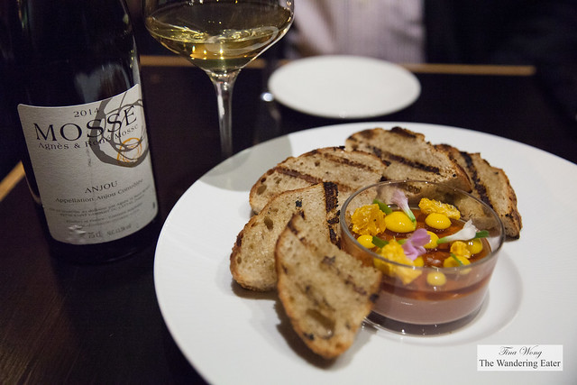 Chicken liver pâté, bourbon, orange, Angostura, sourdough toasts paired with 2014 Agnes & Rene Mosse Anjou Blanc, Chenin Blanc
