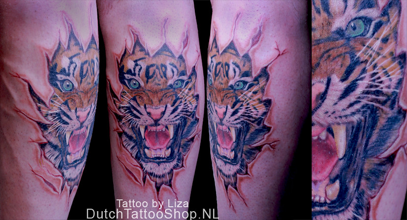 5f38c1a26 ... gescheurde-huid-tijger-ripped-skin-tiger-tattoo | by DutchTattooShop