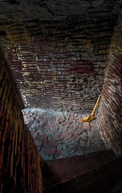 Broom swept bricks