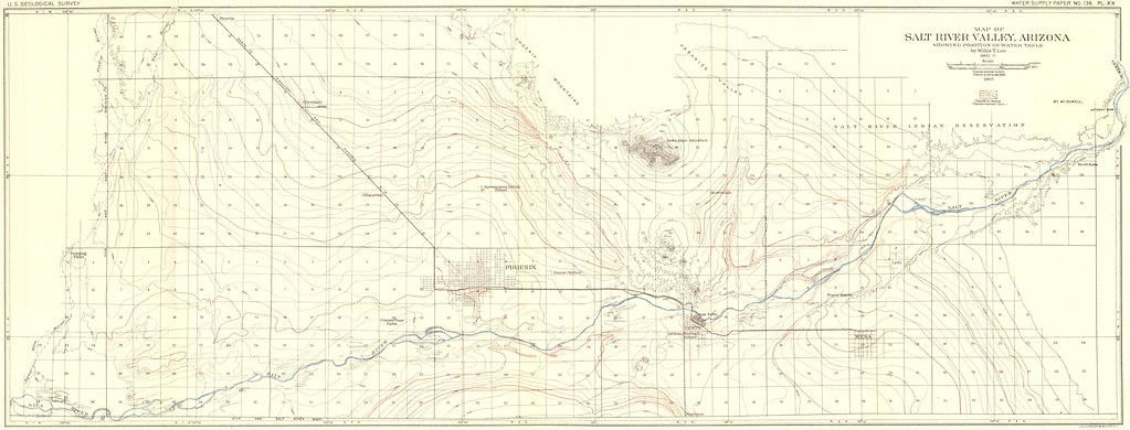 Phoenix Arizona Water Table And Topographic Map 1905 Flickr