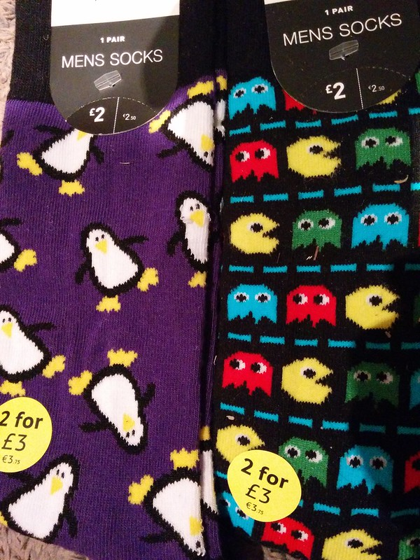 geek socks in tescos; pacman i expect but Tux the Linux penguin ?