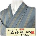 1000円出品 4/22 PM21時締め切り  花楼漫上代 伝統工芸士 「木村竜之」 お召 単衣 花織 浅葱色 縦ストライプ これからの季節に です。  こちらは伝統工芸士「木村竜之」作のシックでオシャレなお召となっており、 これからの季節にピッタリの単衣となっております。  大人の気品と品格あふれる花織です。 縦にストライプが入っていますので着姿もシュッと美しいですよね~♪  きもの通はお召しと紬に戻るといいますが、とてもお洒落なお召しです。  生地はしなやかで張りのある上質な風合いで 体によくなじみ着