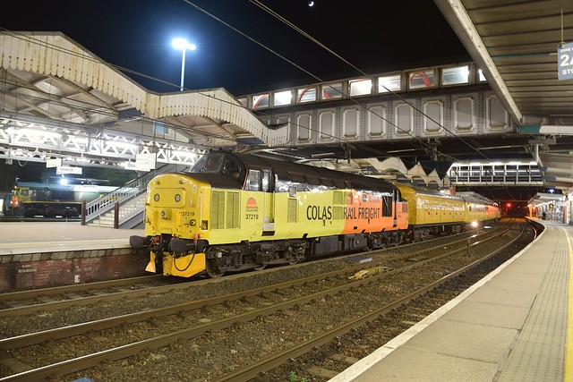 Loco 37219 has just arrived at Ipswich, with a Cambridge - Peterborough Track Testing Train, on a varied route around the region. 31 03 2017