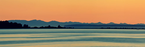 ocean blue sunset sea panorama orange mountain water night washington smooth calm layers blaine nikond3200 emilygrayston
