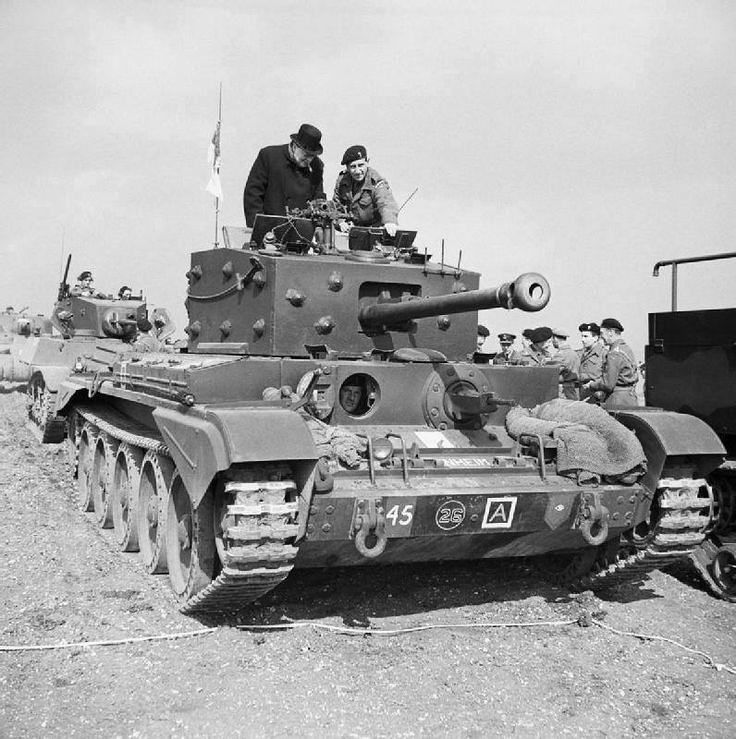 Winston Churchill inspects a Cromwell MK-IV Tank