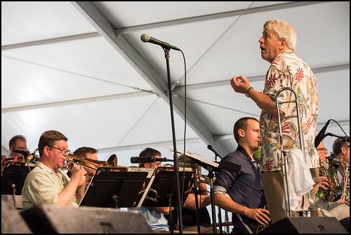 John Mahoney Big Band perform at the Jazz Tent during Jazz Fest day 1 on April 28, 2017. Photo by Ryan Hodgson-Rigsbee www.rhrphoto.com