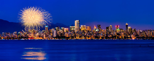 panorama canada beach skyline night vancouver downtown cityscape bc fireworks dusk britishcolumbia ubc spanishbanks kitsilano bluehour celebrationoflight