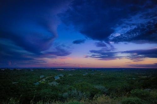 pink blue trees sunset orange green night sanantonio landscape colorful texas rooftops purple cloudy dusk samsung noflash brush bushes satx samsungcamera nx300 samsungnx300 imagelogger