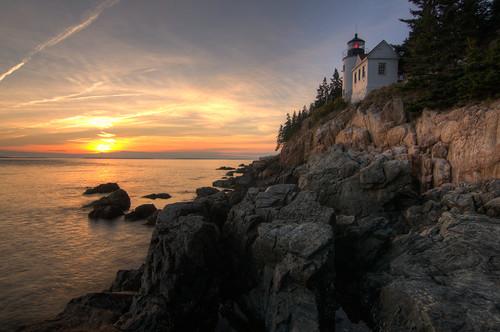 travel sunset vacation lighthouse coast nationalpark nikon unitedstates outdoor maine tokina hdr acadia tremont bassharbor bassharborheadlight d300 photomatix 1116mm