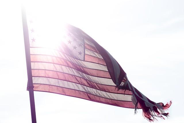 Wind-Torn American Flag in High Key - Week #11 in