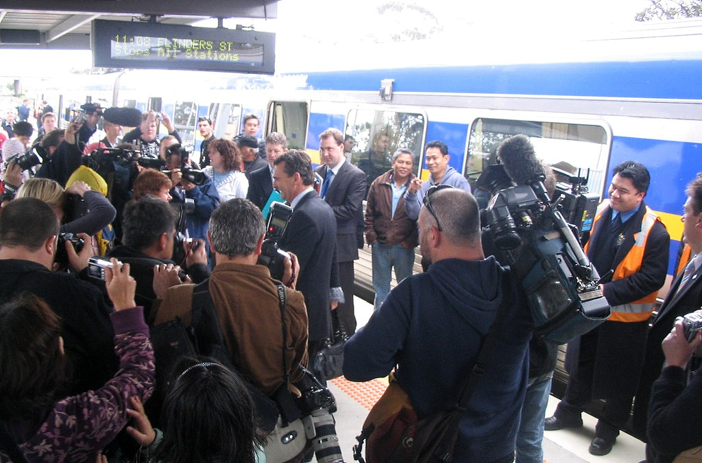 Then-Premier John Brumby at Craigieburn station (re)opening, first day of suburban trains, 30/9/2007 by Daniel Bowen