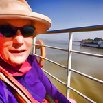Glennis the explorer at the start of our nine hour Mandalay to Bagan boat trip