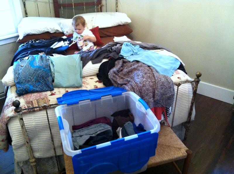 sorting through clothing