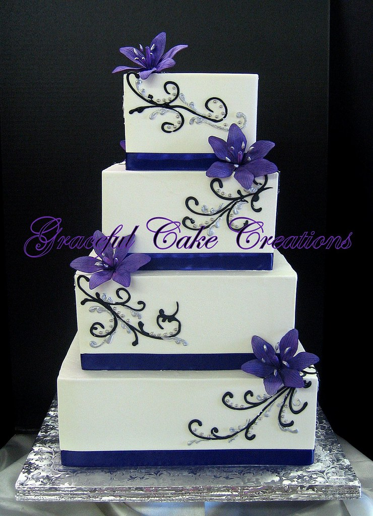 Elegant Purple And White Wedding Cake Grace Tari Flickr