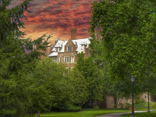 """travel sunset sky ny building water fountain architecture clouds buildings campus hall mark hamilton elmira dramatic visit historic american twain historical attraction """"new york"""" county"""" nrhp college"""" onasil """"chemung """"elmira"""