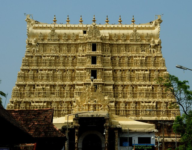 The Gopuram (Tower) of a historic Hindu Temple, Trivandrum, Kerala