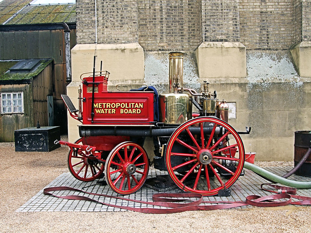 Metropolitan Water Board Steam Fire Engine At The London Museum Of Water And Steam.