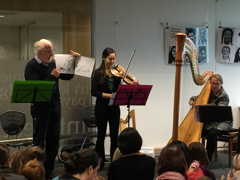 Story time with violin and harp, Upper Riccarton Library