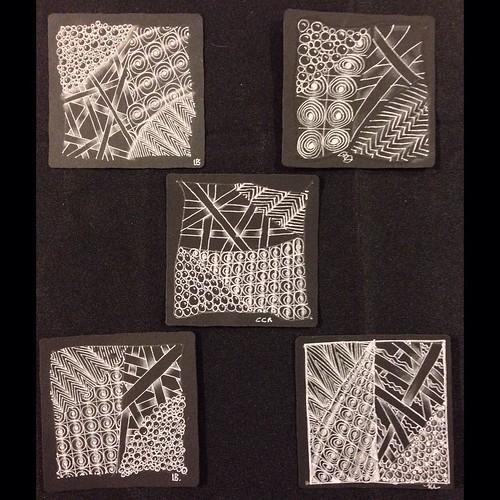 "Oooh, gorgeous black tiles from tonight's ""Introduction to Black Tiles"" class in Windsor, Ontario. #zentangle #tangle #tangling #czt #laurelreganczt #art #classes #artclass #artclasses #draw #drawing #windsor #ontario #yqg   by Laurel Storey, CZT"