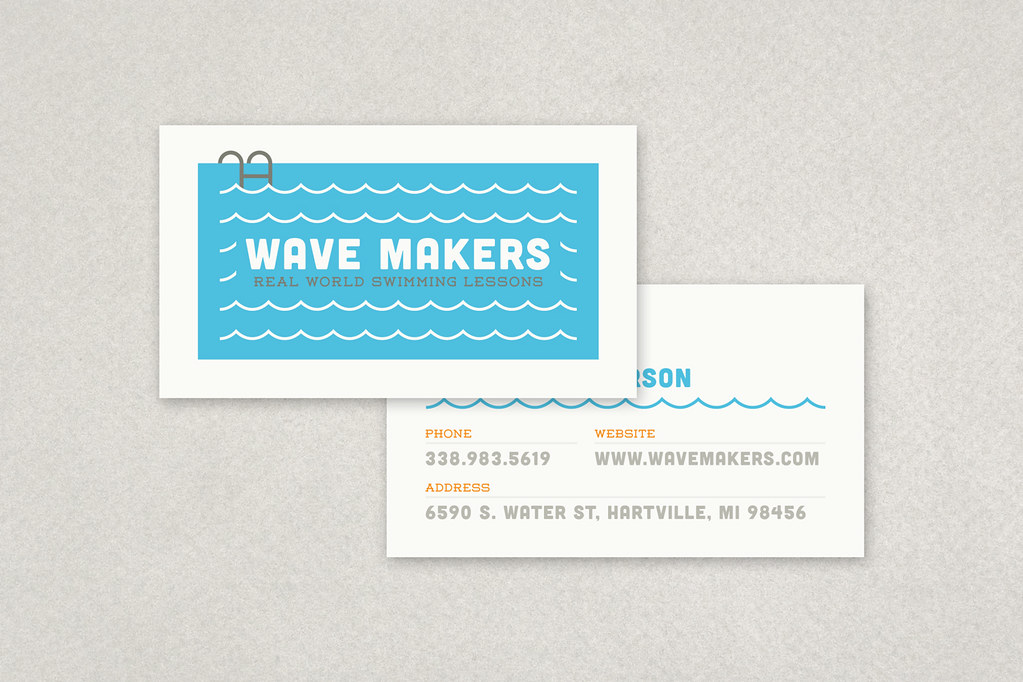 Swimming Pool Business Card Template | This cute nautical de ...