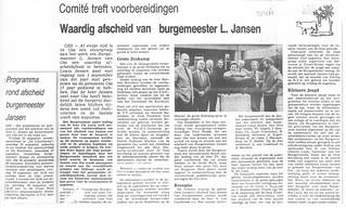 Afscheidscomite Burgemeester L. Jansen Oss