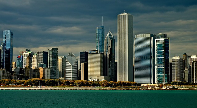 Chicago skyline view from the Adler Planetarium  - IL