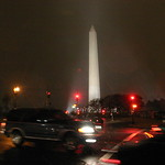 Washington monument at night with snow