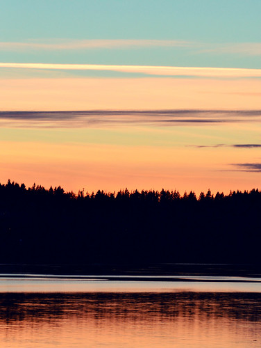 ocean pink blue trees light sunset sea orange sun water colors harbor washington pastel blaine nikond3200 emilygraystonphotography