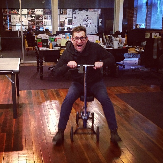Larry riding Dylan's gimp-mobile #whoisowenjones | via Insta