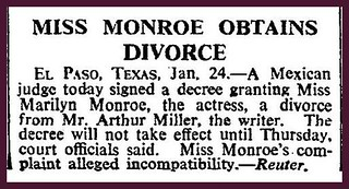 24th January 1961 - Marilyn Monroes obtains a divorce | by Bradford Timeline
