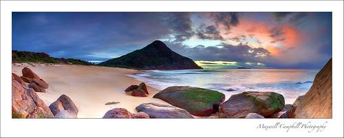 longexposure panorama sun mountain beach sunrise canon newcastle landscape photography sand rocks australia le nsw nelsonbay portstephens zenithbeach shoalbay maxwellcampbell