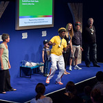 Michael De Souza and Genevieve Webster | Michael De Souza, Genevieve Webster and friends bring some Rastamouse spirit to the Book Festival.