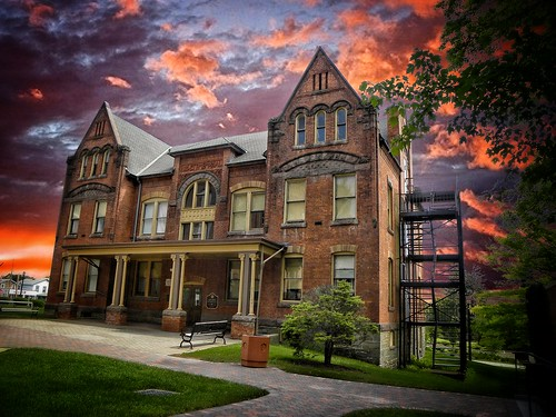 """elmira ny """"chemung county"""" """"new york"""" gillette memorial hall travel visit american nrhp historic historical building architecture clouds dramatic sky onasil """"elmira college"""" campus attraction buildings chemungcounty newyork onasill landmark style victorian sunset fireescape"""