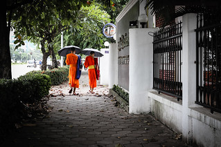 Monks, Vientiane Laos   by Justin Hickling