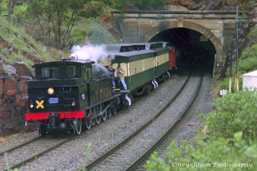 SAR 251 exits Sleeps Hill Tunnel by Corey Gibson